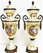 PAIR Antique French Sevres style Hand-Signed Porcelain