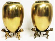 antique french pair bronze vase putti cherub