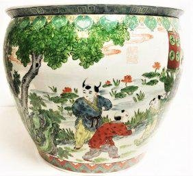 Large CHINESE Porcelain Fish Bowl or JARDINIE 20