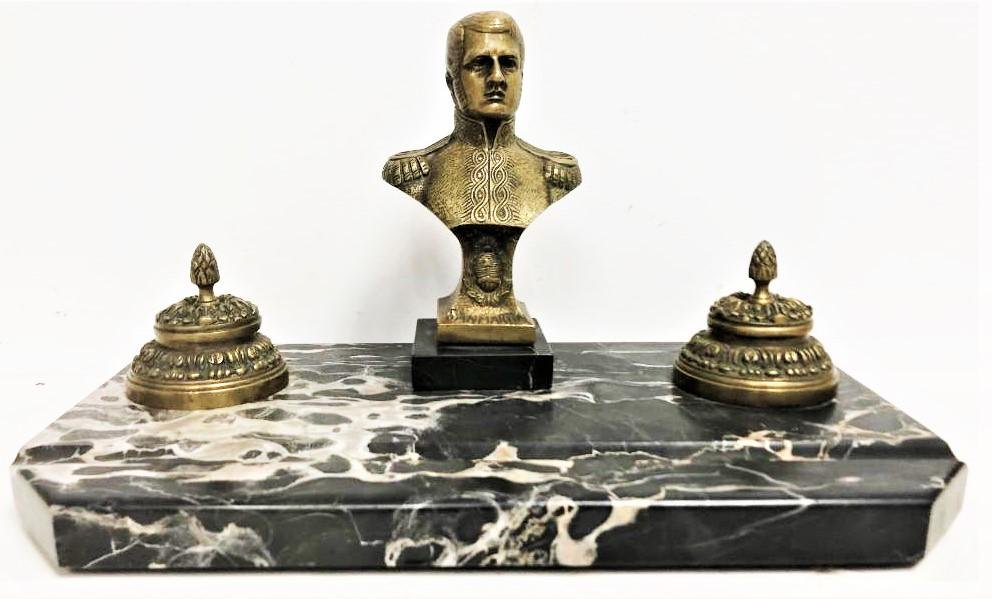 Antique French Bronze and Marble Inkwell,