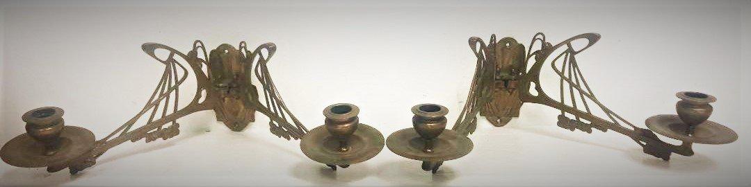 Antique French Art Nouveau Double Candlestick