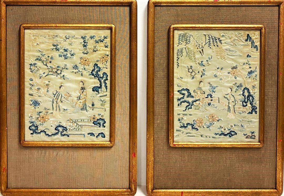 Pair of Antique Chinese Figural   Silk Embroidered
