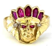 Vintage 14K Yellow Gold ruby Native American Chief