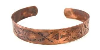 Vintage Native Navajo Artisan Solid Copper 55 Cuff