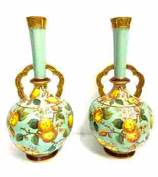 Antique Pair of English Porcelain Two-Handled Moon