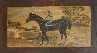 ANTIQUE OIL PAINTING HORSE MEN FOLK ART PRIMITIVE SCENE