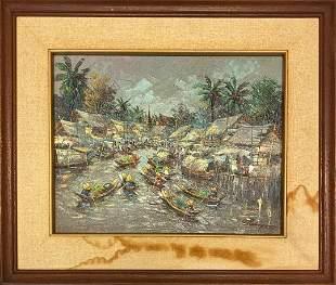 Signed Original Thai Oil Painting - Thailand River