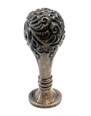 Antique Art Nouveau  Sterling Repousse Wax Seal