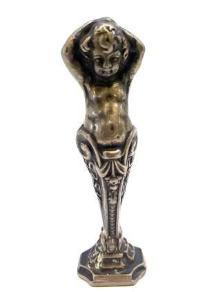 Antique sterling Silver Victorian Seal Child Cherub