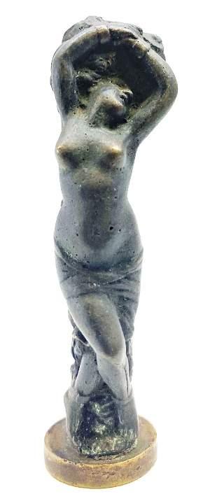 Antique French Gilt Bronze Art Nouveau woman figure Wax