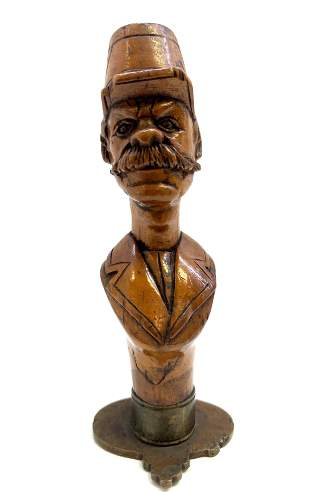 Antique 19 century wood and bronze  Man bust figure wax