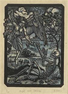 """Donna Evans """"Angel and Skeleton"""" Woodcut"""