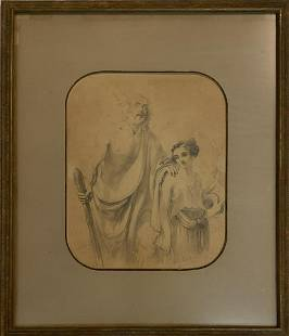 19th Century pencil on paper (Old Master Signed)
