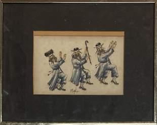 """Original Watercolor signed """"MOGAL"""""""