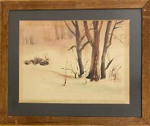 American Watercolor Signed Illegible