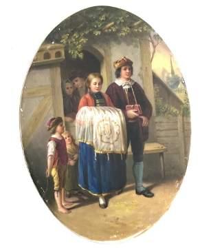 Antique 19th Century German Porcelain Painted Oval