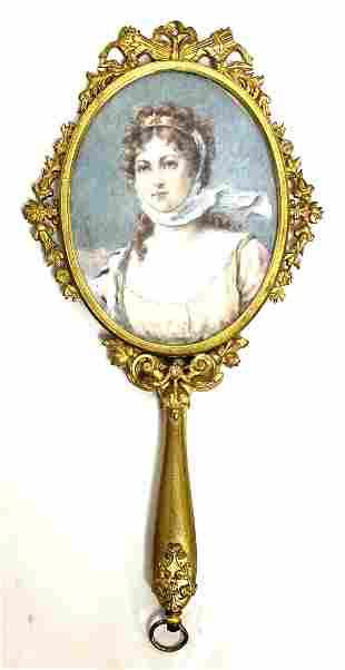 Gilded French Antique 19th Century Portrait Hand Mirror
