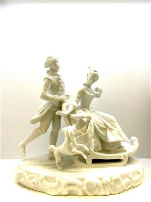 Antique Bisque Porcelain Group 19th Century French