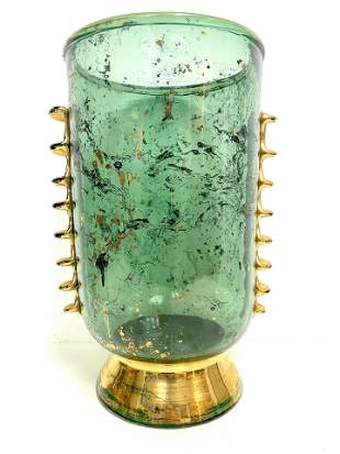 Vintage Green Murano Vase Signed