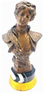 Antique (French) 1900's Bronze and Agate Woman Bust Wax