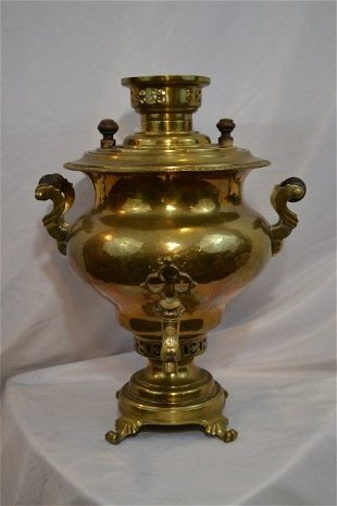 Antique Brass Russian Samovar with Tax Stamps - Apr 07, 2019