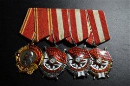 WWII SOVIET RUSSIAN ORDEL LENIN 4  MEDAL BAR
