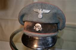 WWII GERMAN SS OFFICER'S KZ VISOR CAP HAT