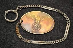 WWII GERMAN POLICE GESTAPO ID BRASS BADGE W CHAIN