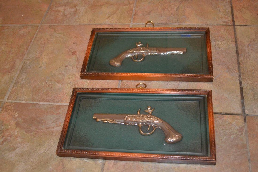 LOT OF 2 WALL DECORATIVE ANTIQUE GUNS FRAMED