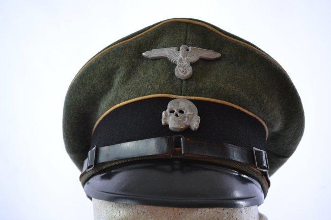 WWII GERMAN WAFFEN SS NCO OFFICERS VISOR HAT CAP