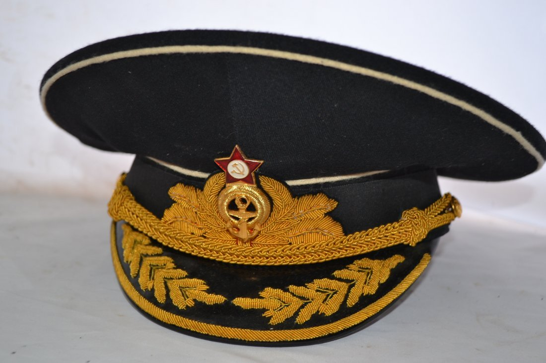 SOVIET RUSSIAN COLD WAR ERA NAVY ADMIRAL VISOR CAP HAT