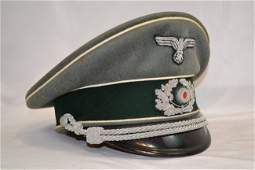 WWII GERMAN ARMY INFANTRY OFFICERS VISOR HAT CAP