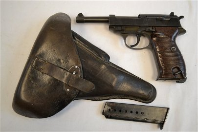WWII NAZI GERMAN P38 WALTHER BYF43 9MM PISTOL / HOLSTER