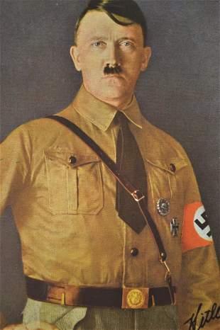 NAZI GERMAN LEADER ADOLF HITLER COLOR POSTCARD