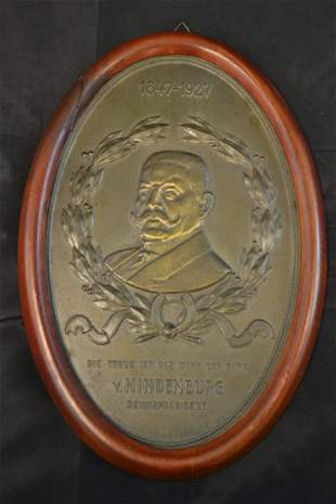 ANTIQUE GERMAN PAUL VON HINDENBURG BRASS PLAQUE
