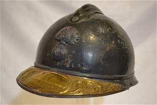 WWI FRENCH ADRIAN BLUE HELMET COMPLETE VETERANS PLATE