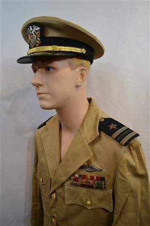 WWII US NAVY SUBMARINE OFFICER SUMMER KHAKI UNIFORM