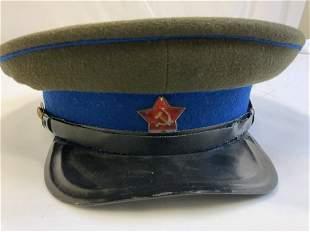 WWII SOVIET RUSSIAN NKVD EM M35 VISOR HAT CAP MIL.INTEL