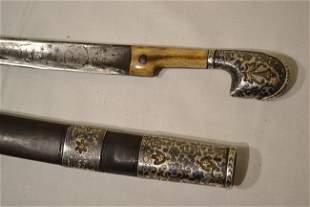BEAUTIFUL SILVER NIELLO SMALL SHASHKA SWORD CAUCASIAN