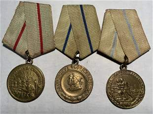 USSR LOT OF 3 WWII MEDALS SOVIET UNION RUSSIA