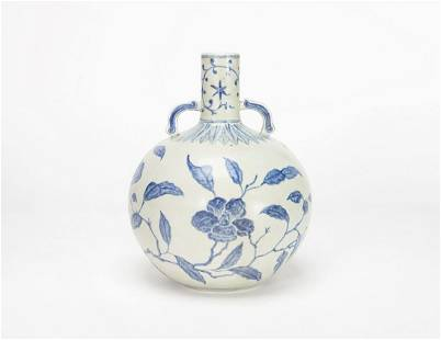A Chinese Blue and White Floral Moonflask