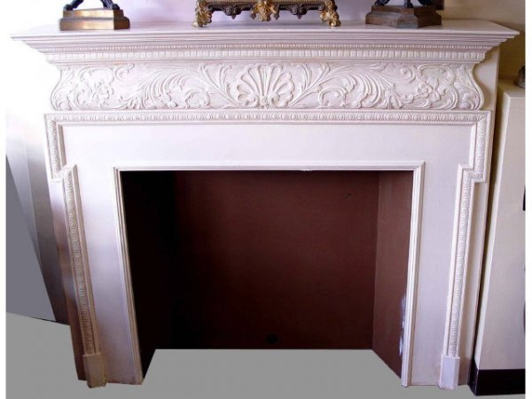 1: Ornate Carved Wood Fireplace Mantle