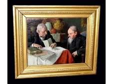 173B: Moeller N.A. B.1855 Coin Dealers Oil Painting 190
