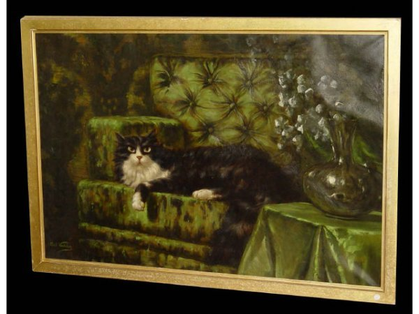 182: Carl Kahler b1855 Cat Oil Painting Listed