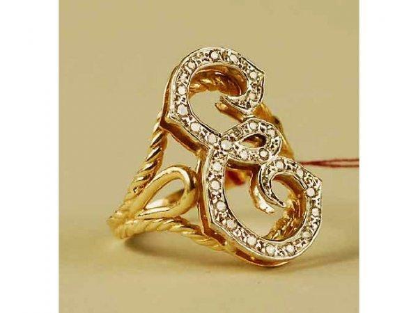 302: 14kt Gold Diamond E Initial Ring