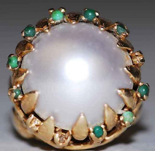 305: Antique 14kt Gold Turquoise Pearl Ring