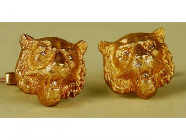 313: 14kt Yellow Gold Diamond Tiger Cufflinks