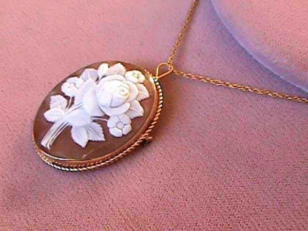 315: 14kt Gold Rose Cameo Pendant 14k Necklace
