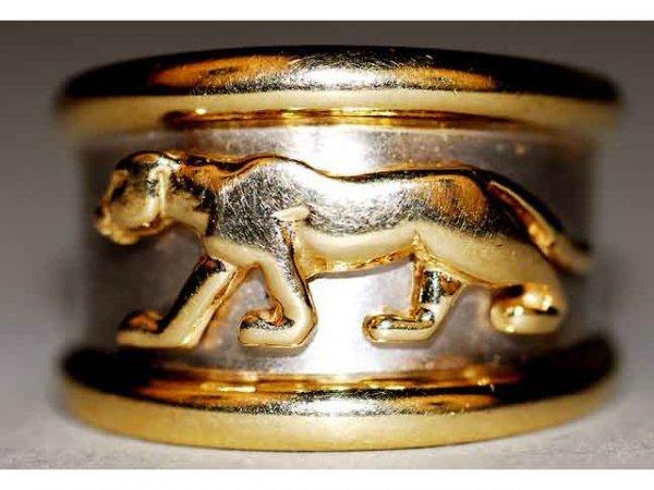324: Fine 18kt Yellow & White Gold Jaguar Ring