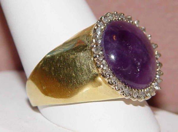 1015: 14kt Gold 10ct Amethyst Diamond Men's Ring